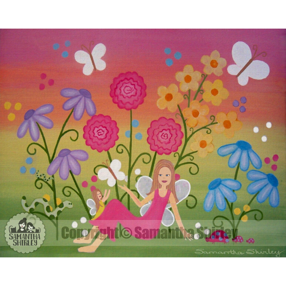 Fairy Garden Kids Art Print Of Mother Daughter Painting Girls