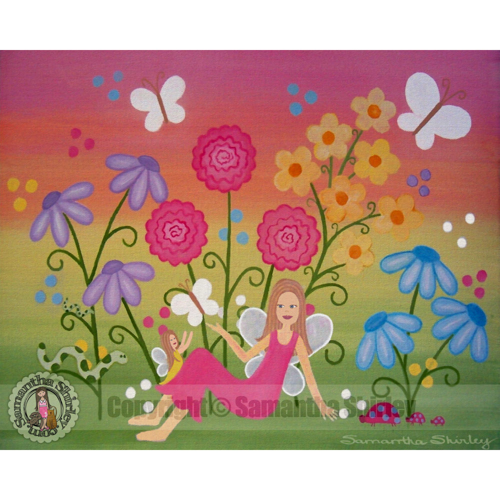 Fairy Garden   Mother Daughter Fairies Kids Art Print Girls Room Wall Art  Childrenu0027s Decor
