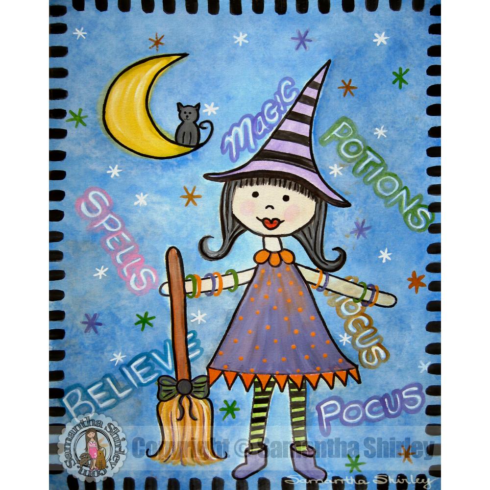 hocus pocus - halloween witch childrens kids wall art print