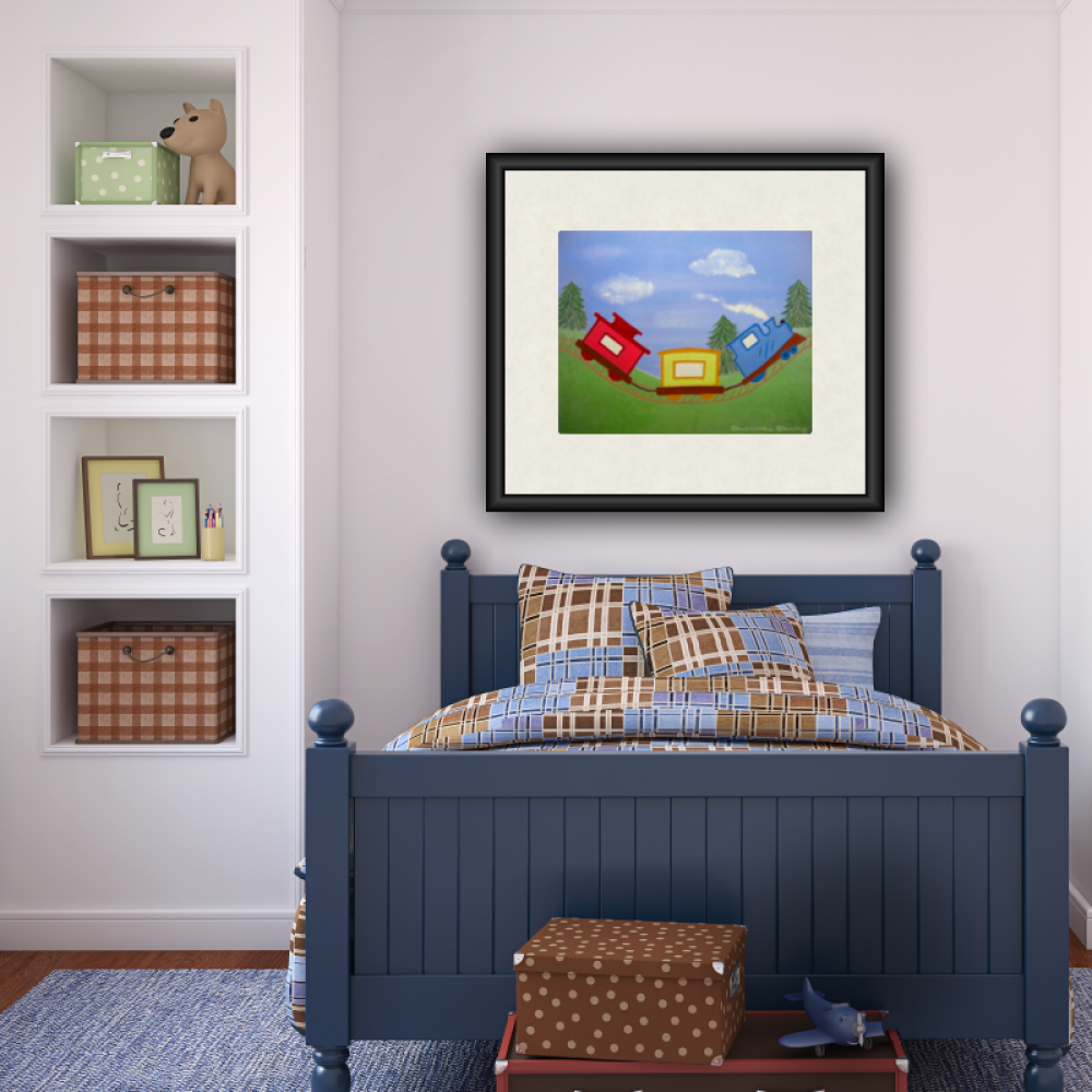 All Aboard   Kids Art Print Of Toy Freight Train Painting   Boys Room Kid  Wall Art Prints ...
