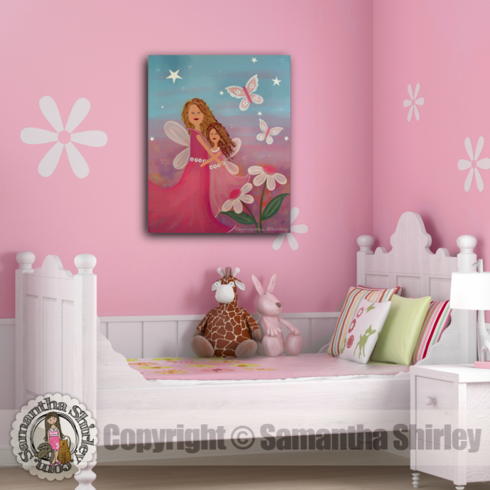 Always Forever Kids Art Canvas Panel Of Mother Daughter Angels Painting S Bedroom Kid Wall Hanging Baby Nursery Child Room Decor