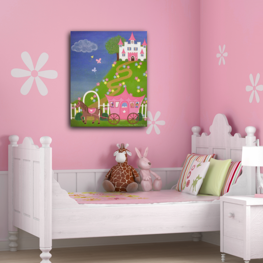 Marvelous Happily Ever After   Princess Cinderella Castle Kids Art Canvas Panel Girls  Room Wall Art Childrenu0027s Decor