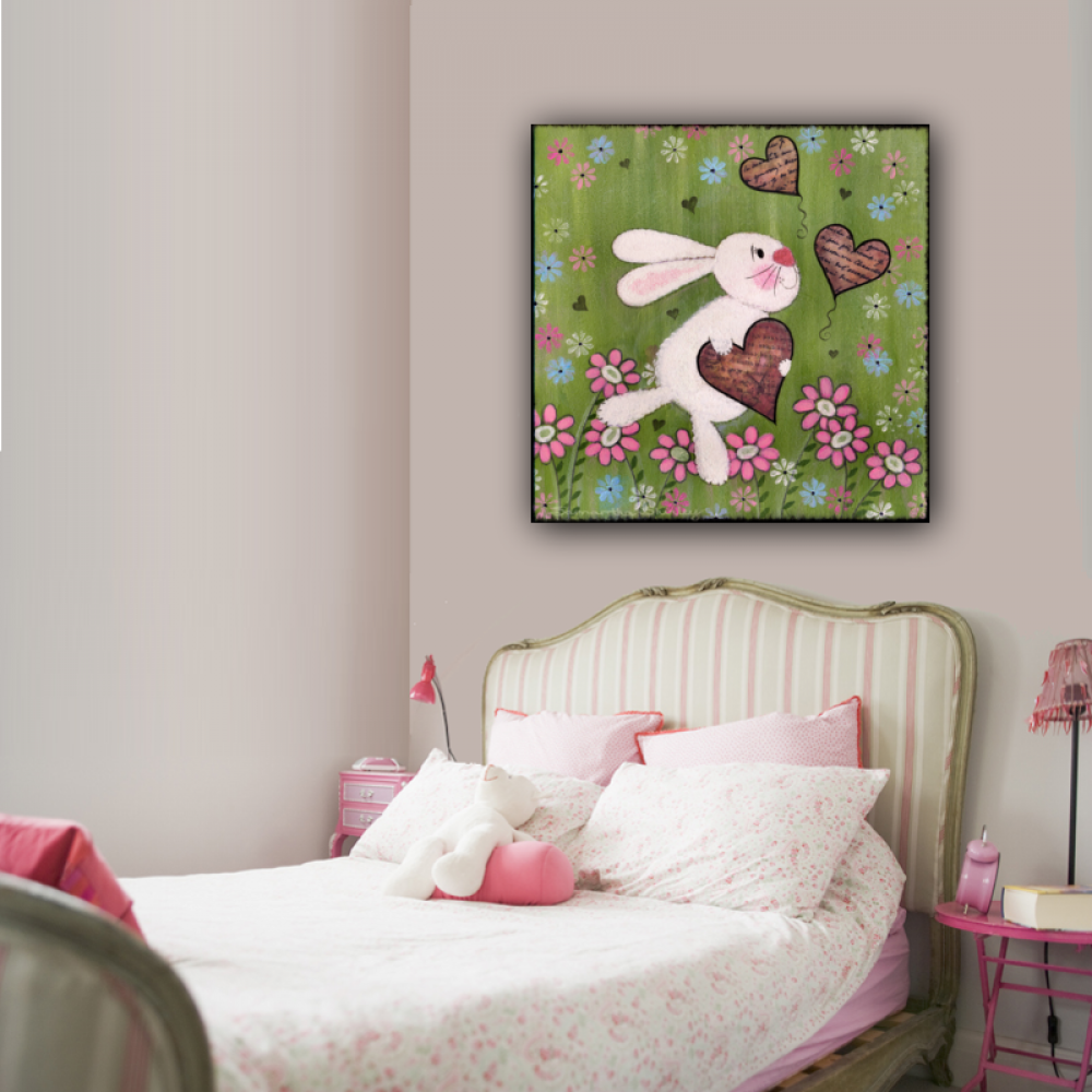 Some Bunny Loves You Kids Art Canvas Panel Of Rabbit Painting S Bedroom Kid Wall